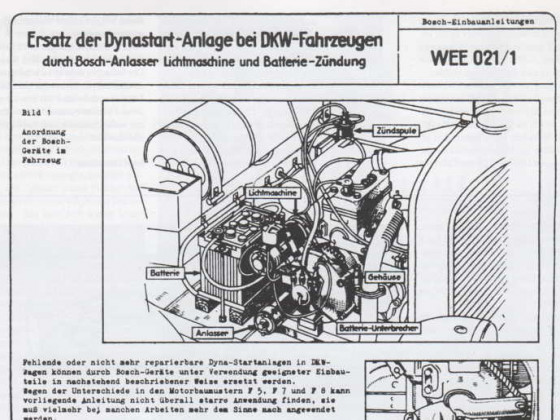 Umbau der Dynastartanlage auf Anlasser und Lichtmaschine
