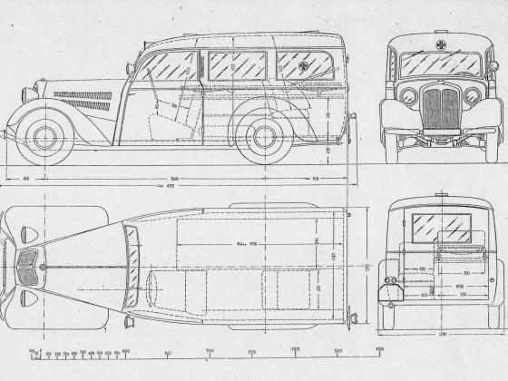 Maßskizze DKW F8 Krankenwagen