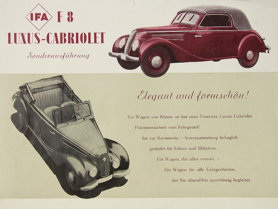 Prospekt IFA F8 Luxus Cabriolet für den Export